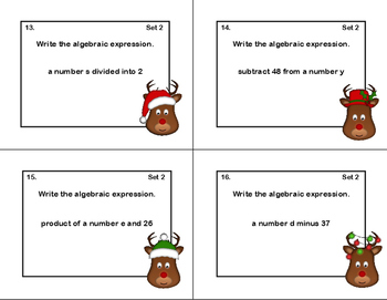 Writing Algebraic Expressions Task Cards,Scoot, and Quiz -Reindeer Theme