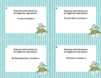 Writing Algebraic Expressions Task Cards-Snowman Theme- CCS: 6.EE.2a