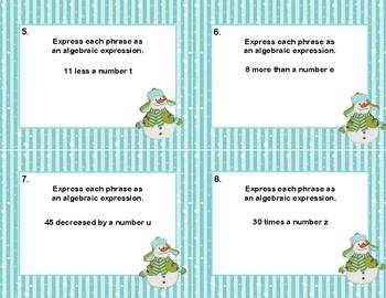 Writing Algebraic Expressions Task Cards-Snowman Theme- CCS: 6.EE.2a