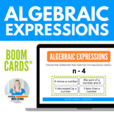 Writing Algebraic Expressions Task and Boom Cards