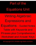 Writing Algebraic Expressions and Equations - Table of Key