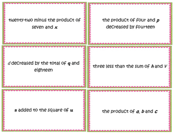 Writing Algebraic Expressions from Word Phrases 6.EE.A.1, 6.EE.A.2, 6.EE.A.2.A