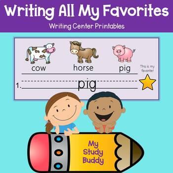 Writing Center Activities: Write Words, Build Vocabulary (Kindergarten Packet)