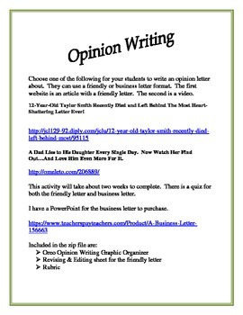 Writing An Opinion Letter
