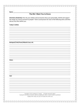Writing Activity: The Me I Want You to Know