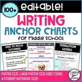 Writing Anchor Charts for Middle School- Student Notebook Posters- Editable!