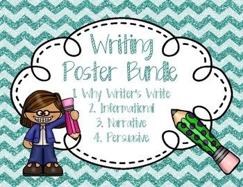 Writing Anchor Poster Bundle Chevron Glitter Information, Narrative, Opinion