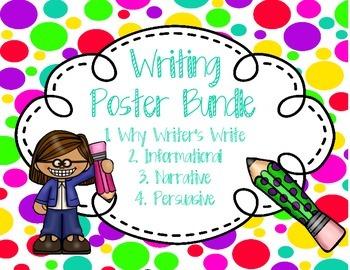 Writing Anchor Poster Bundle Neon Polka Dot Information, Narrative, Opinion