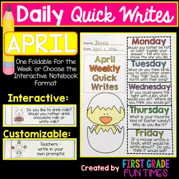 Spring Activities Writing Prompts - Quick Writes for April