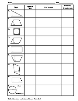 Writing Area and Perimeter/Circumference Worksheet