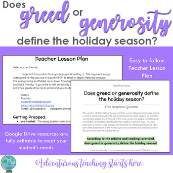 Does greed or generosity define the holiday season? {An Inquiry Synthesis Essay}