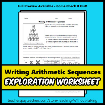 Writing Arithmetic Sequences Worksheet
