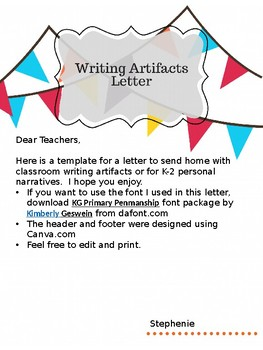Writing Artifacts or Personal Narratives Letter