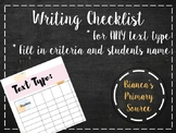 Writing Assessment Checklist