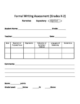 Writing Assessment opinion writing