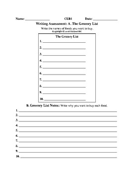 Writing Assessments for the Multi-level LINC/ESL class CLB 1-4 The Grocery List