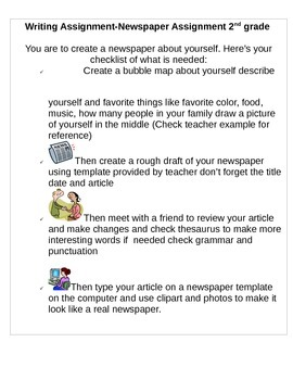 Writing Assignment: Create a Newsletter 2nd grade