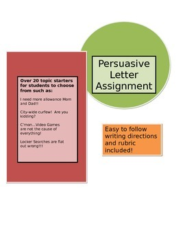 Writing Assignment - Persuasive Letter