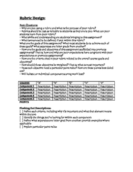 Writing Assignment Rubric Design and Workshop: