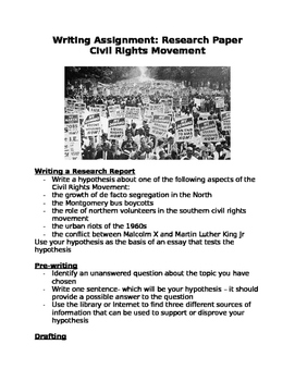 Writing Assignment for Civil Rights Movement