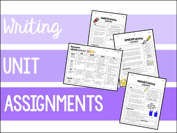 Writing Assignments: Narrative, Expository, and Persuasive
