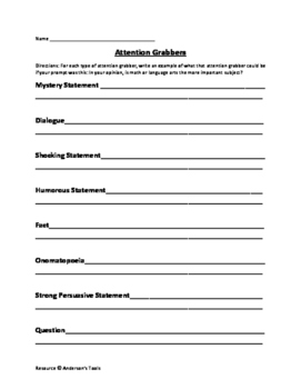 Writing Attention Grabber Activity