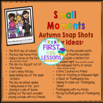 Writing: Autumn Small Moment Snap Shot Story Ideas