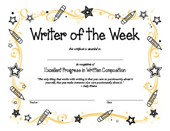Writing Award Certificate
