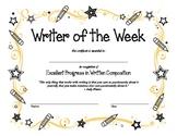 Writing Award Certificate