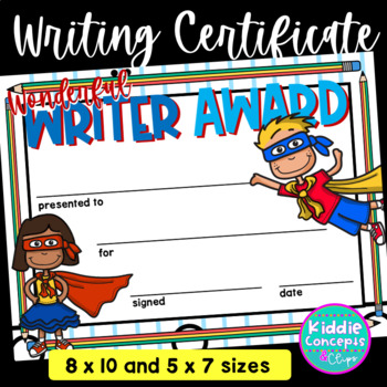 Writing Award Certificate Super Hero Theme