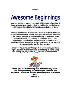 Writing Awesome Beginnings!  How do I start?