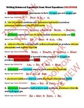 Writing Balanced Equations/Word Equations ~COLORED PENCIL ACTIVITY~ EDITABLE