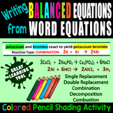 Writing Balanced Equations/Word Equations ~COLORED PENCIL ACTIVITY~ EDITABLE