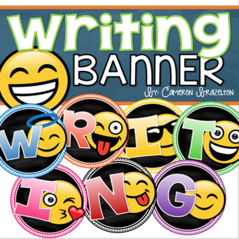 Writing Banner Classroom Decoration Bulletin Board Emoji Smiley Face Theme