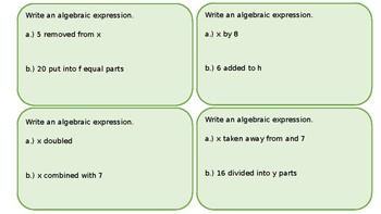 Writing Basic Algebraic Expressions: Task Cards