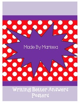 Writing Better Answers Classroom Posters