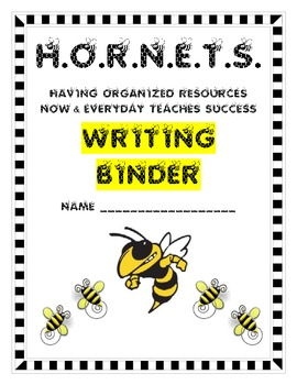 Writing Binder Cover Page - Hornet/Bee Theme Hornets