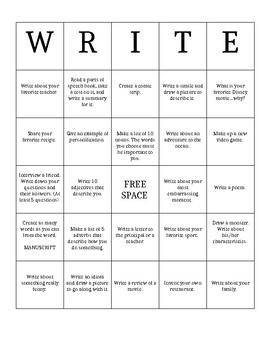 Writing Bingo