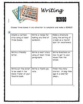 Writing Bingo Boxes