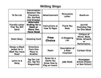 Writing Bingo Printable