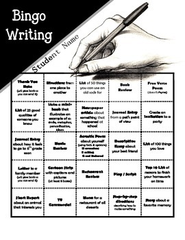 Writing Bingo Project