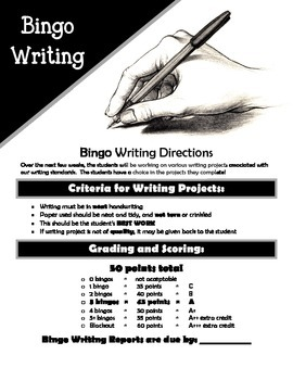 Writing Bingo Project