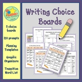 Writing Choice Boards - Prompts, Graphic Organizers and Transition Word List