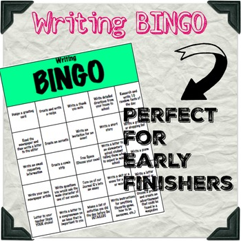 Writing Bingo for Early finishers and differentiated instruction
