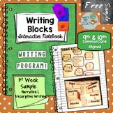 Writing Blocks Writing Program 1st Week Sample