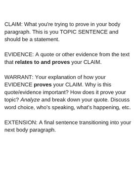Writing Body Paragraphs - Toulmin Model