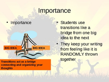 Writing : Body and Transitions PowerPoint