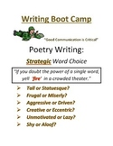 Writing Boot Camp: Introduction to Poetry by Jilian Morgan