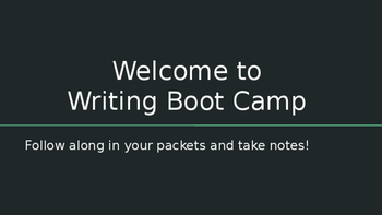 Writing Boot Camp PowerPoint Presentation