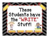 """Writing Bulletin Board Display: """"The Write Stuff"""""""